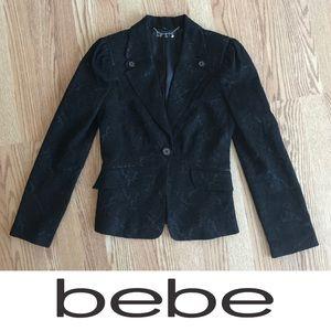 BEBE Black Embroidered Blazer Jacket 2 XS